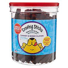 Grreat Choice® Craving Sticks Chewy Dog Treat - Grain Free, Turkey & Berry Flavor
