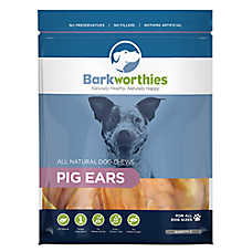 Barkworthies Pig Ears Dog Chews - Natural