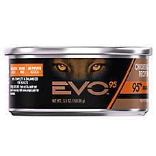 EVO 95 Adult Cat Food - Grain Free, Gluten Free, Chicken & Turkey, 24ct Case