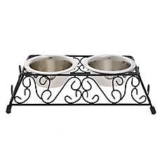 Whisker City® Scrolls Double Diner Cat Bowl