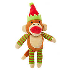 Pet Holiday™ Sock Monkey Dog Toy - Plush, Squeaker