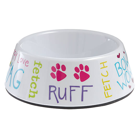 Top paw fun with words dog bowl dog food water bowls for Fish bowl petsmart