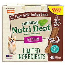 Nylabone® Nutri Dent Limited Ingredients Medium Dog Dental Chew - Natural, Filet Mignon Flavor