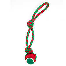 Pet Holiday™ Knotted Rope with Tennis Ball Dog Toy