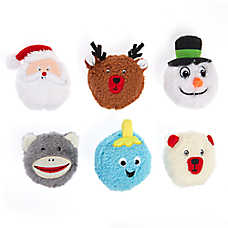 Pet Holiday™ Holidays Heads Dog Toys - 6 Pack