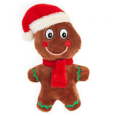 Pet Holiday™ Gingerbread Man Dog Toy - Plush, Squeaker
