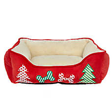 Pet Holiday™ Tree & Dog Bones Cuddler Pet Bed