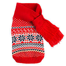 Top Paw® Holiday Fair Isle Pet Sweater with Scarf