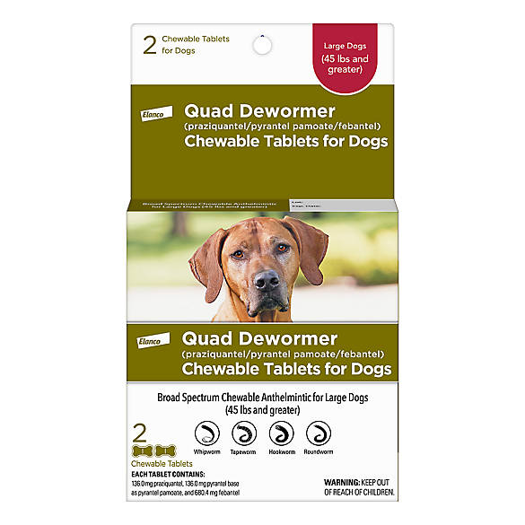 Bayer Quad Dewormer Chewable Tablets For Large Dogs