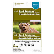 Bayer Quad Dewormer Chewable Tablets for Medium Dogs