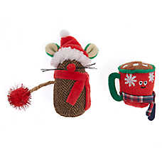 Whisker City® Holiday Mouse & Cocoa Cat Toys- 2 Pack