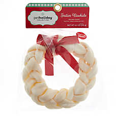 "Pet Holiday™ Festive Rawhide 6"" Braided Wreath Dog Treat"