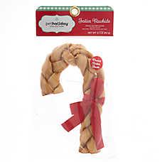 Pet Holiday™ Festive Rawhide Braided Rawhide Cane Dog Treat - Peanut Butter Flavor