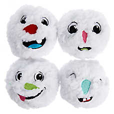 Pet Holiday™ Snowman Face Ball Dog Toys - 4 Pack