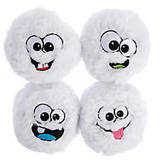 Pet Holiday™ Snowball Face Ball Dog Toys - 4 Pack