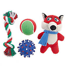 Top Paw® Holiday Fox Dog Toys - 4 Pack
