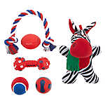 Top Paw® Holiday Zebra Dog Toys - 6 Pack