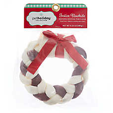"Pet Holiday™ Festive Rawhide 6"" Braided Wreath Dog Chew - Beef & Pork Flavor"
