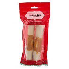 "Pet Holiday™ Festive Rawhide 7"" Chicken Wrapped Roll Dog Chew"