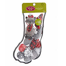 Whisker City® Holiday Raccoon Cat Toys - 12 Pack Stocking