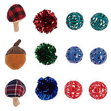 Whisker City® Holiday Acorn Ball Cat Toys - 12 Pack