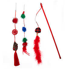 Whisker City® Holiday Feather Pom Teaser Cat Toy - 3 Pack