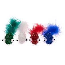 Whisker City® Holiday Tinsel Fish Cat Toys -  4 Pack