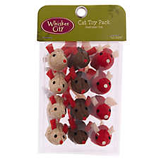 Whisker City® Holiday Burlap Mice Cat Toys - 12 Pack