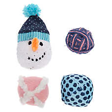 Pet Holiday™ Snowman & Balls Cat Toys - 4 Pack