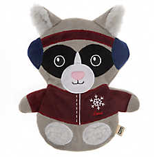 ED Ellen DeGeneres Holiday Skiing Raccoon Flattie Dog Toy - Crinkle