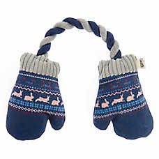 ED Ellen DeGeneres Holiday Mittens Dog Toy - Plush, Rope, Squeaker