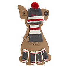 ED Ellen DeGeneres Winter Hat & Warmers Dog Accessory Set