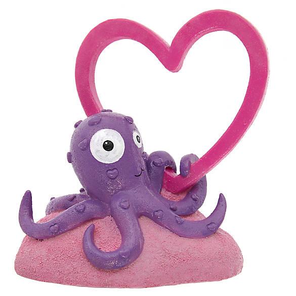 Top fin octapus heart aquarium ornament fish ornaments for Petsmart fish decor