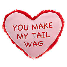 """Grreat Choice® Valentine's Day """"You Make My Tail Wag"""" Heart Dog Toy - Plush, Squeaker"""