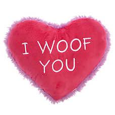 "Grreat Choice® Valentine's Day ""I Woof You"" Heart Dog Toy - Plush, Squeaker"