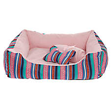 Grreat Choice® Aztec Stripes Cuddler Pet Bed Gift Set