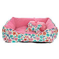 Grreat Choice® Floral Cuddler Pet Bed Gift Set
