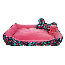 Grreat Choice® Floral Cuddler Pet Bed Gift Set