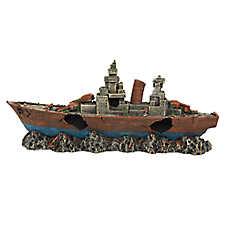 Top Fin® Battle Ship Aquarium Ornament