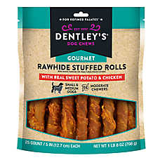 Dentley's® Gourmet Rawhide Stuffed Rolls Dog Treats - Sweet Potato & Chicken