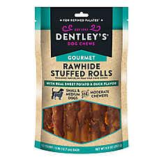Dentley's® Gourmet Rawhide Stuffed Rolls Dog Treats - Sweet Potato & Duck