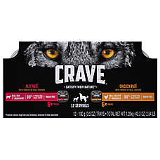 Crave ™ Dog Food, Real Shreds of Meat - Natural, Grain Free Pate Variety Pack