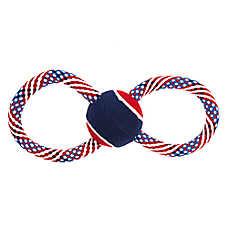 Top Paw® Americana Figure 8 Rope & Tennis Ball Dog Toy