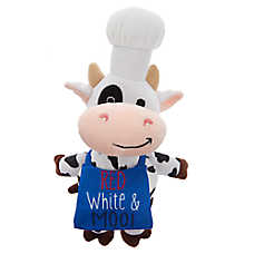 Top Paw® Americana Cow Chef Dog Toy - Plush, Squeaker