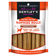 "Dentley's® Extra Touch 5"" Rawhide Rolls Dog Treats"