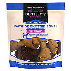 "Dentley's® Traditional 6"" Rawhide Knotted Bones Dog Treats - Assorted, Beef & Chicken"