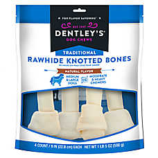 "Dentley's® Traditional 9"" Rawhide Knotted Bones Dog Treats"