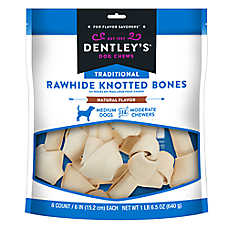 "Dentley's® Traditional 6"" Rawhide Knotted Bones Dog Treats"