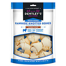 "Dentley's® Traditional 3"" Rawhide Knotted Bones Dog Treats - Small"