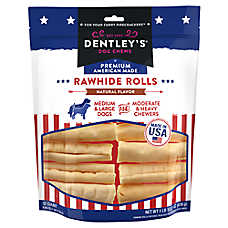 Dentley's® Premium American Made Rawhide Rolls Dog Treats